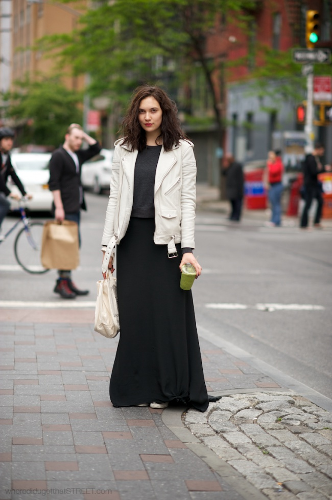 Girl in BLK Denim white leather jacket and black maxi skirt